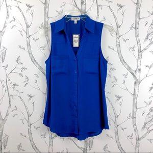 NWT Express Portofino sleeveless shirt royal blue